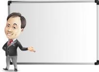 Asian Businessman Cartoon Vector Character - Showing on Big whiteboard