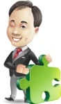 Asian Businessman Cartoon Vector Character - with Puzzle