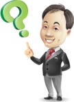 Asian Businessman Cartoon Vector Character - with Question mark