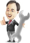 Asian Businessman Cartoon Vector Character - with Repairing tool wrench