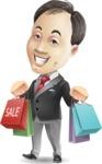 Asian Businessman Cartoon Vector Character - Holding shopping bags