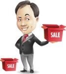 Asian Businessman Cartoon Vector Character - with Sale boxes