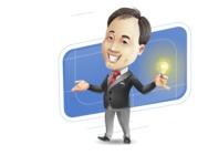 Asian Businessman Cartoon Vector Character - Shape10