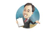 Asian Businessman Cartoon Vector Character - Shape2