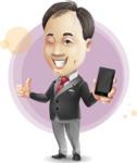Asian Businessman Cartoon Vector Character - Shape7