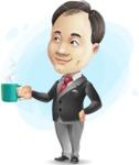 Asian Businessman Cartoon Vector Character - Shape9
