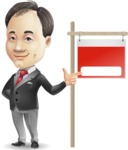 Asian Businessman Cartoon Vector Character - with Blank Real estate sign