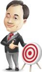 Asian Businessman Cartoon Vector Character - with Target