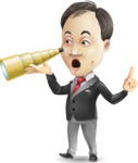 Asian Businessman Cartoon Vector Character - Looking through telescope