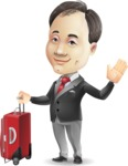 Asian Businessman Cartoon Vector Character - with Suitcase