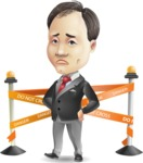 Asian Businessman Cartoon Vector Character - with Under Construction sign