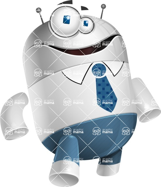 Droid Cartoon Vector Character AKA Ray McTie - Normal