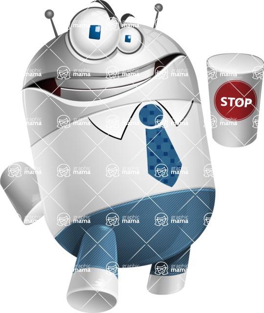Droid Cartoon Vector Character AKA Ray McTie - Stop