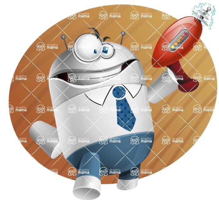 Droid Cartoon Vector Character AKA Ray McTie - Shape9