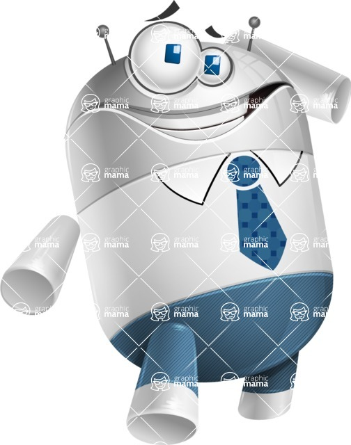 Droid Cartoon Vector Character AKA Ray McTie - Oops