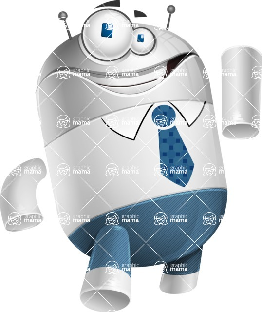 Droid Cartoon Vector Character AKA Ray McTie - Attention