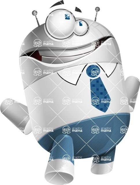 Droid Cartoon Vector Character AKA Ray McTie - Roll Eyes