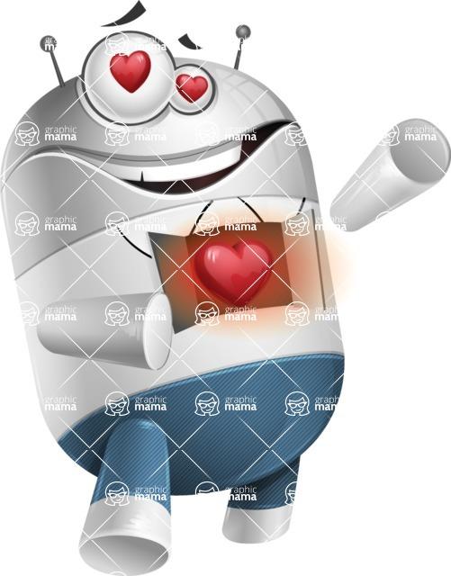 Droid Cartoon Vector Character AKA Ray McTie - Love