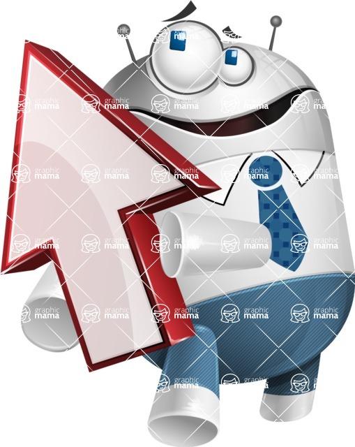 Droid Cartoon Vector Character AKA Ray McTie - Arrow