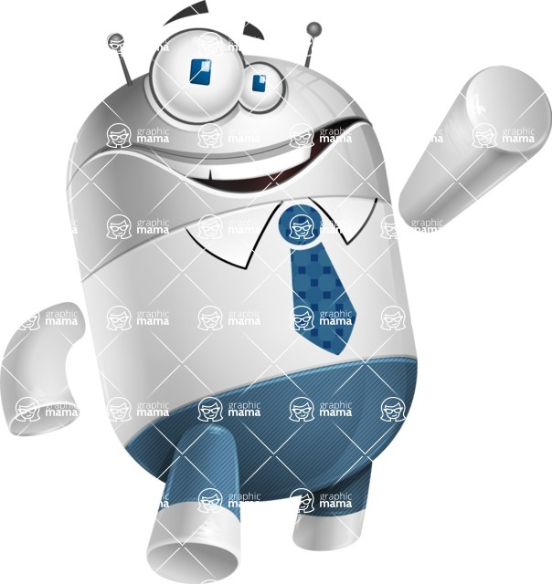 Droid Cartoon Vector Character AKA Ray McTie - Thumbs Up