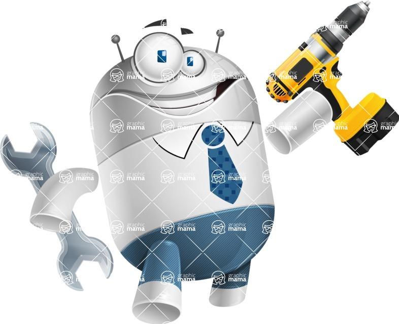 Droid Cartoon Vector Character AKA Ray McTie - Workman 1