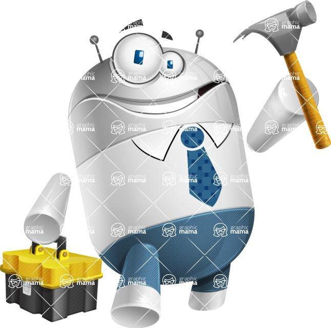 Droid Cartoon Vector Character AKA Ray McTie - Workman 2