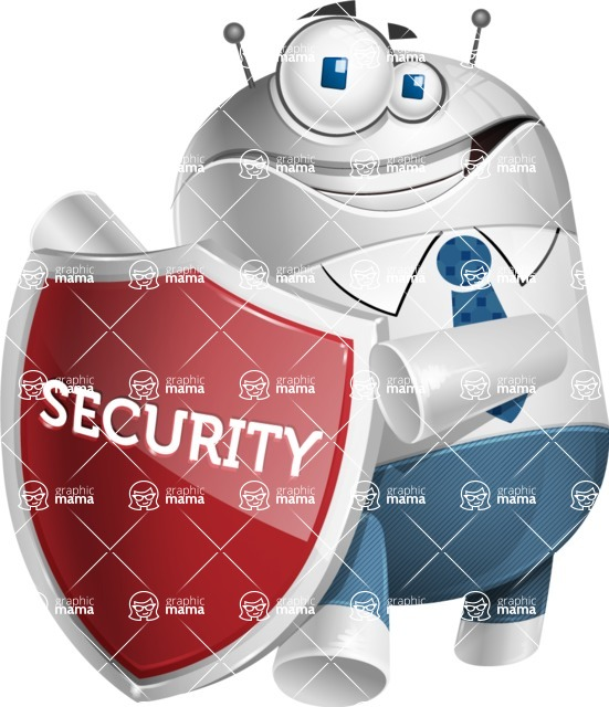 Droid Cartoon Vector Character AKA Ray McTie - Security 2