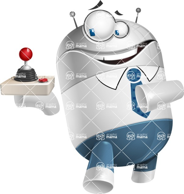 Droid Cartoon Vector Character AKA Ray McTie - Joystick