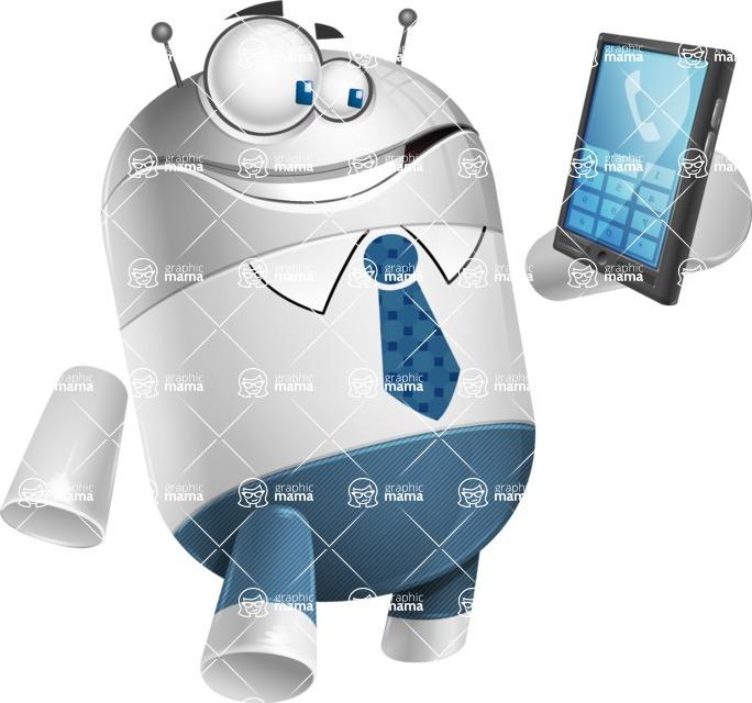Droid Cartoon Vector Character AKA Ray McTie - Phone