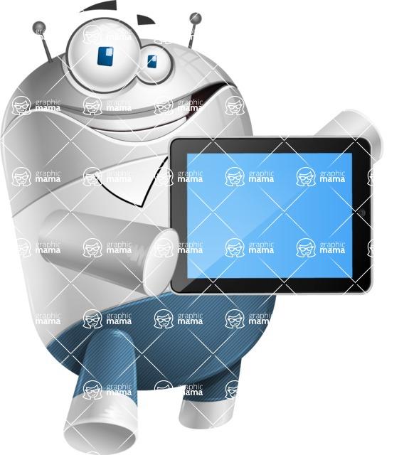 Droid Cartoon Vector Character AKA Ray McTie - iPad 2
