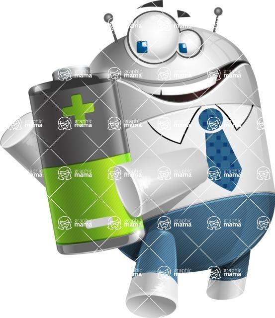 Droid Cartoon Vector Character AKA Ray McTie - Battery