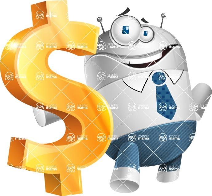 Droid Cartoon Vector Character AKA Ray McTie - Dollar
