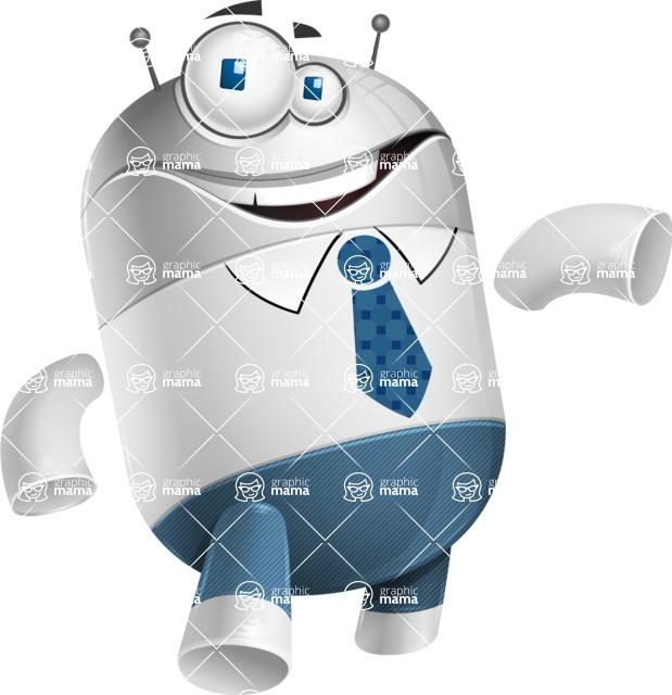 Droid Cartoon Vector Character AKA Ray McTie - Showcase