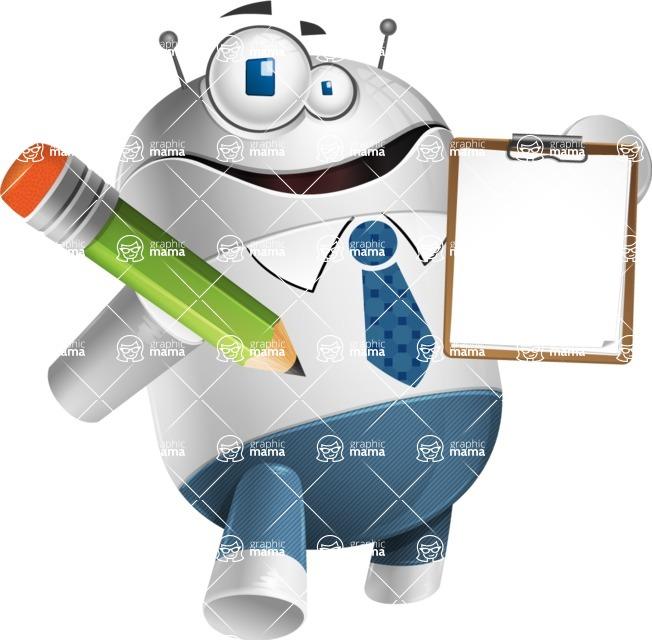 Droid Cartoon Vector Character AKA Ray McTie - Notepad