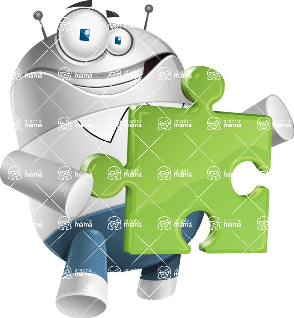 Droid Cartoon Vector Character AKA Ray McTie - Puzzle