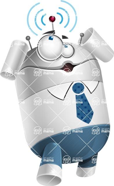 Droid Cartoon Vector Character AKA Ray McTie - Wi-Fi