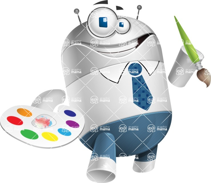 Droid Cartoon Vector Character AKA Ray McTie - Artist