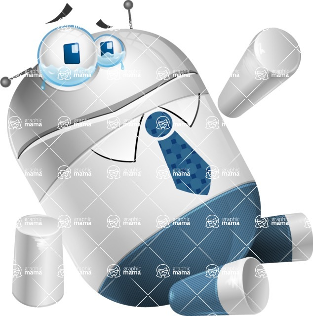 Droid Cartoon Vector Character AKA Ray McTie - Under Construction