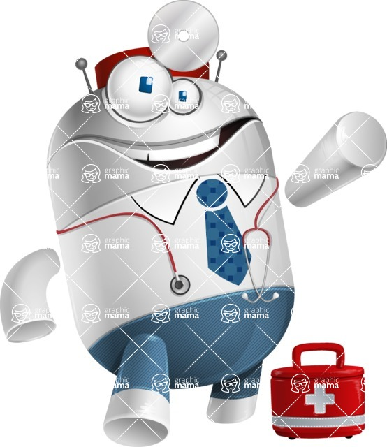 Droid Cartoon Vector Character AKA Ray McTie - Doctor