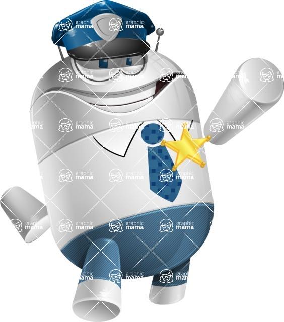 Droid Cartoon Vector Character AKA Ray McTie - Policeman