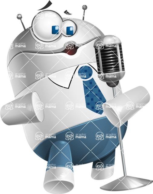 Droid Cartoon Vector Character AKA Ray McTie - Singer