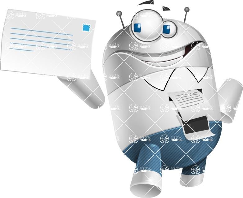 Droid Cartoon Vector Character AKA Ray McTie - Printer