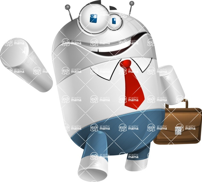 Droid Cartoon Vector Character AKA Ray McTie - Businessman