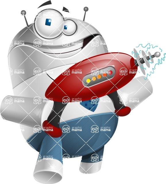 Droid Cartoon Vector Character AKA Ray McTie - Gun 2