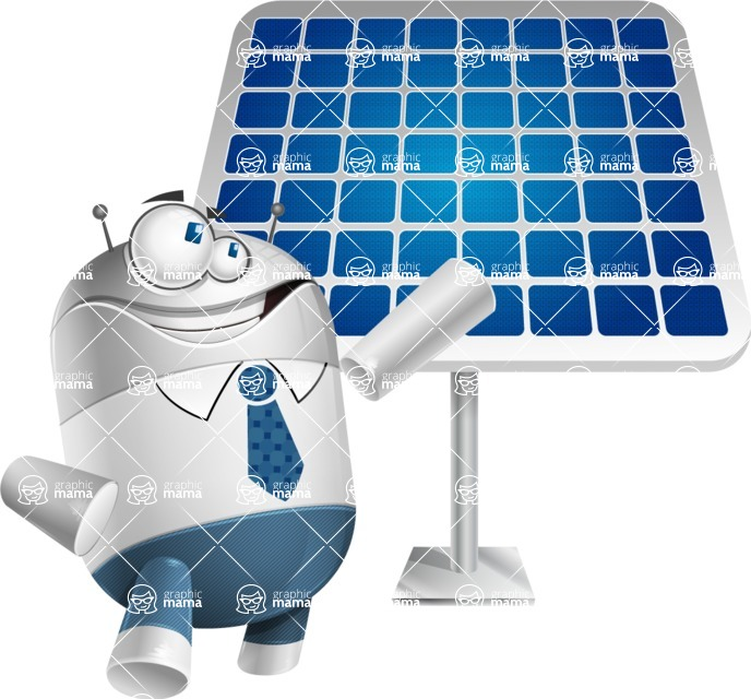 Droid Cartoon Vector Character AKA Ray McTie - Solar Panel