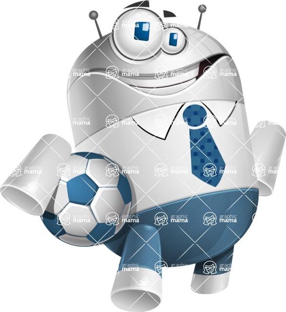 Droid Cartoon Vector Character AKA Ray McTie - Soccer