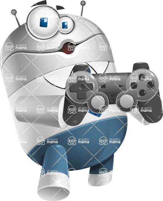 Droid Cartoon Vector Character AKA Ray McTie - Game