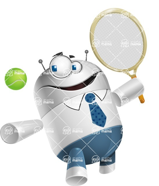 Droid Cartoon Vector Character AKA Ray McTie - Tennis 1