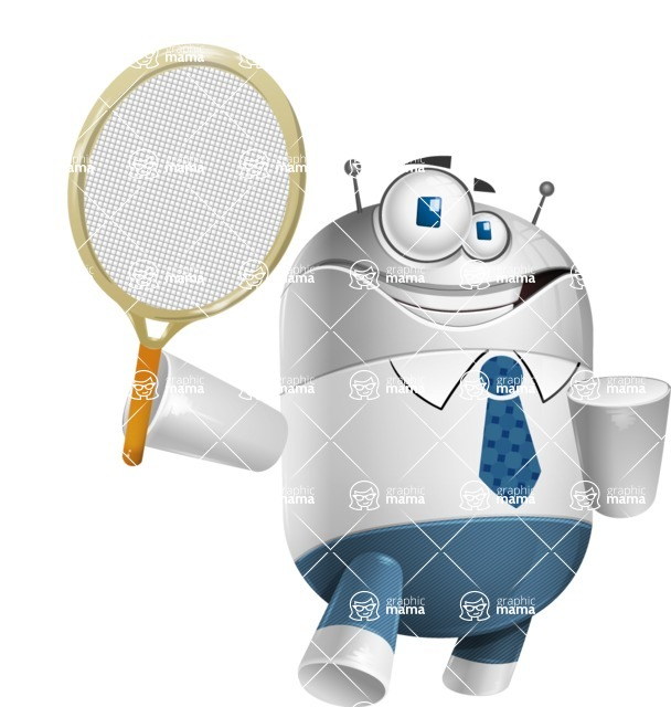 Droid Cartoon Vector Character AKA Ray McTie - Tennis 2