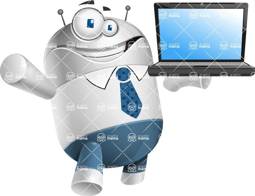Droid Cartoon Vector Character AKA Ray McTie - Laptop 2